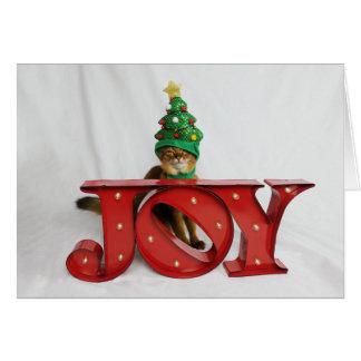 不審な喜びのクリスマスツリー猫の帽子 カード