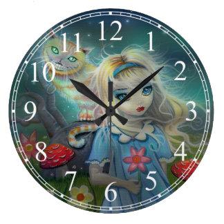 不思議の国およびチェシャー猫のアリス ラージ壁時計