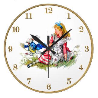 不思議の国および白いウサギの時計のアリス ラージ壁時計
