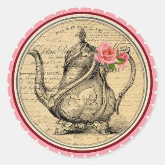 不思議の国のお茶会のステッカーのヴィンテージアリス ラウンドシール