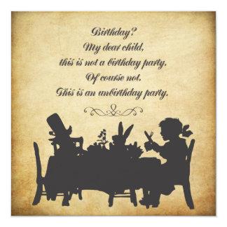不思議の国のお茶会の誕生日のヴィンテージアリス 13.3 スクエアインビテーションカード