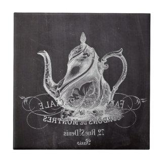 不思議の国のお茶会の黒板のティーポットアリス タイル