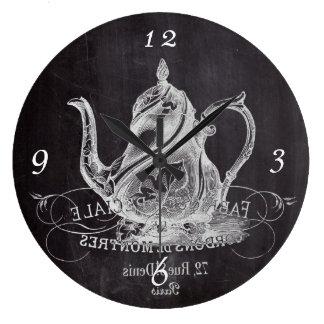 不思議の国のお茶会の黒板のティーポットアリス ラージ壁時計