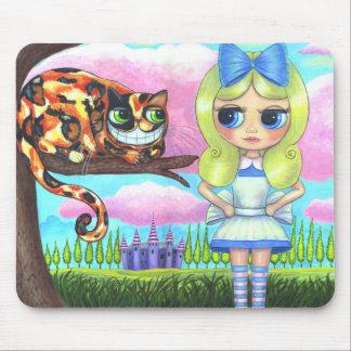 不思議の国のアリスおよびチェシャーの猫及び城 マウスパッド