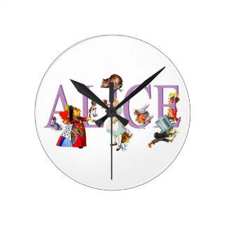 不思議の国のアリスおよび友人 ラウンド壁時計