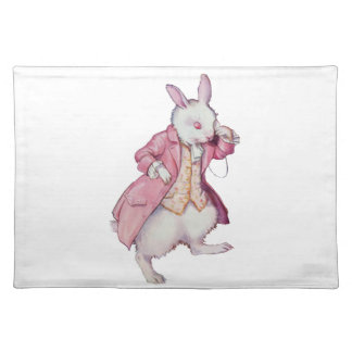 不思議の国のアリスからの白いウサギ ランチョンマット
