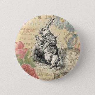 不思議の国のアリスからの白いウサギ 5.7CM 丸型バッジ