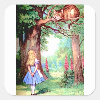 不思議の国のアリスそしてチェシャー猫 スクエアシール
