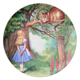 不思議の国のアリスそしてチェシャー猫 パーティー皿