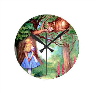 不思議の国のアリスそしてチェシャー猫 ラウンド壁時計