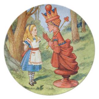 不思議の国のアリスそして赤い女王 ディナー皿