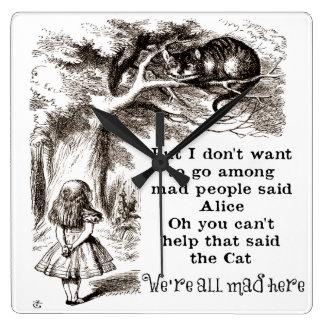 不思議の国のアリス; アリスを持つチェシャー猫 スクエア壁時計
