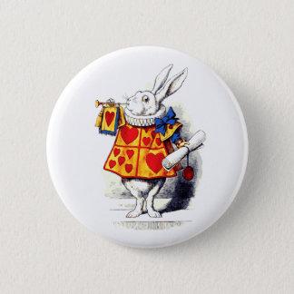 不思議の国のアリスTenniel著白いウサギ 5.7cm 丸型バッジ