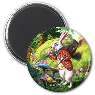 不思議の国のイースター磁石の白いウサギ|Alice マグネット
