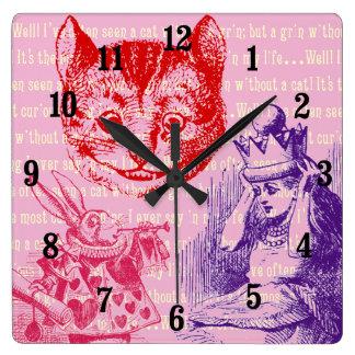 不思議の国のカスタマイズ可能なヴィンテージアリス スクエア壁時計