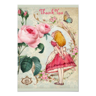 不思議の国のコラージュの結婚式のアリスは感謝していしています カード