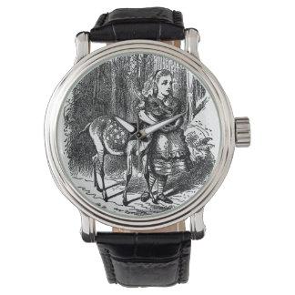 不思議の国のシカのヴィンテージによってアリスは素朴なプリントがじゃれつきます 腕時計