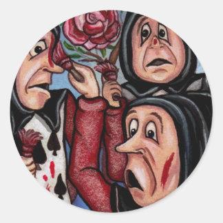 不思議の国のステッカーのバラアリスを絵を描くこと ラウンドシール
