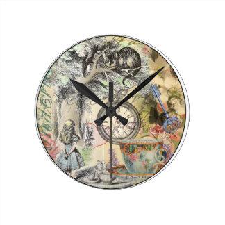 不思議の国のチェシャー猫アリス ラウンド壁時計