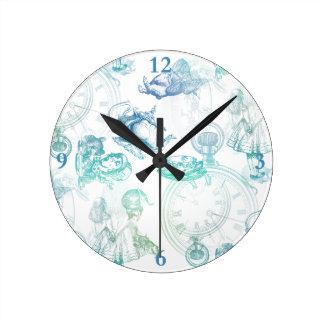 不思議の国のティータイムの青い水の時計のアリス ラウンド壁時計