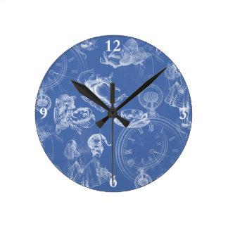 不思議の国のティータイムの青の時計のアリス ラウンド壁時計