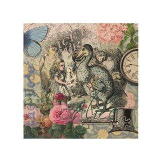 不思議の国のドードーのヴィンテージのかわいらしいコラージュのアリス ウッドウォールアート