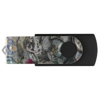 不思議の国のドードーのヴィンテージのかわいらしいコラージュのアリス USBフラッシュドライブ