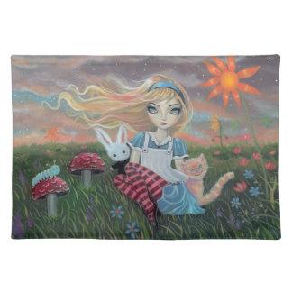 不思議の国のファンタジーの芸術のランチョンマットのかわいいアリス ランチョンマット