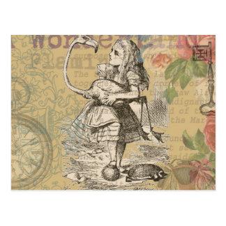 不思議の国のフラミンゴのアリス ポストカード