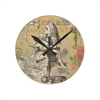 不思議の国のフラミンゴの気違いのお茶会のアリス ラウンド壁時計