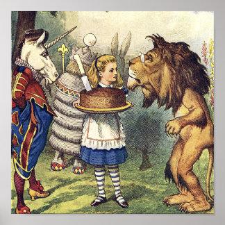 不思議の国のプリントのユニコーンのライオンそしてアリス ポスター