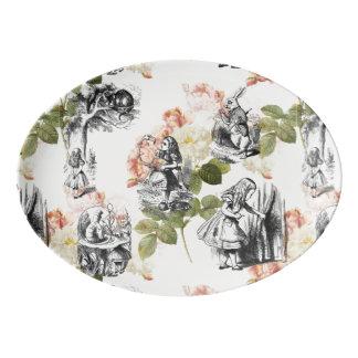 不思議の国のヴィンテージのバラの大皿のアリス 磁器大皿