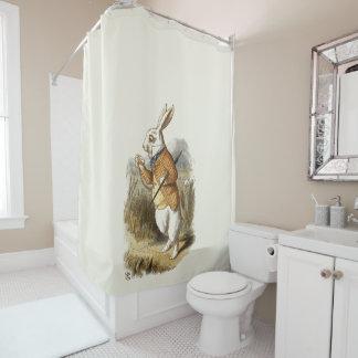 不思議の国のヴィンテージの芸術のアリスからの白いウサギ シャワーカーテン