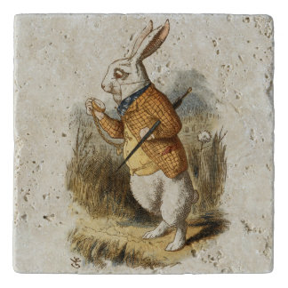 不思議の国のヴィンテージの芸術のアリスからの白いウサギ トリベット
