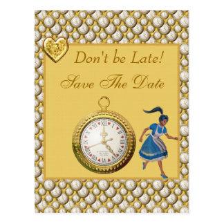 不思議の国の保存のアリス日付の結婚式の郵便はがき ポストカード