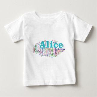 不思議の国の単語の雲のアリス ベビーTシャツ
