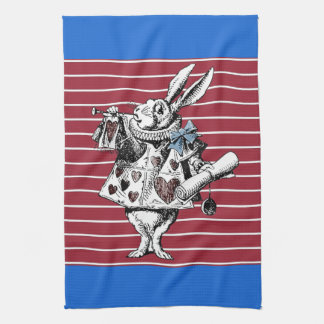 不思議の国の白いウサギのストライプのなふきんのアリス キッチンタオル