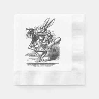 不思議の国の白いウサギのナプキンのアリス 縁ありカクテルナプキン