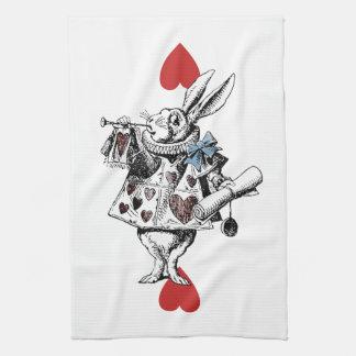 不思議の国の白いウサギのハートのふきんのアリス キッチンタオル