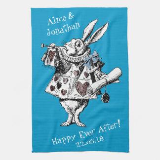 不思議の国の白いウサギの台所タオルのアリス ハンドタオル