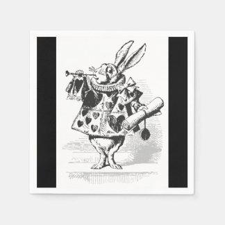 不思議の国の白いウサギの紙ナプキンのアリス スタンダードカクテルナプキン