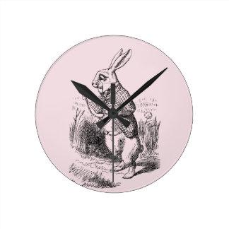 不思議の国の白いRabbit_Alice ラウンド壁時計