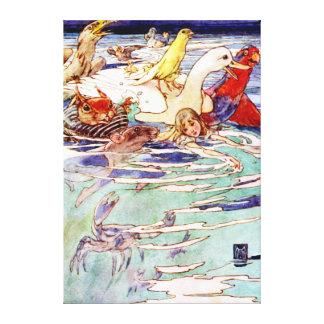 不思議の国の破損のプールのアリスの水泳 キャンバスプリント