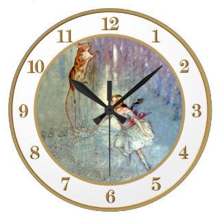 不思議の国の破損のプールのアリスの水泳 ラージ壁時計