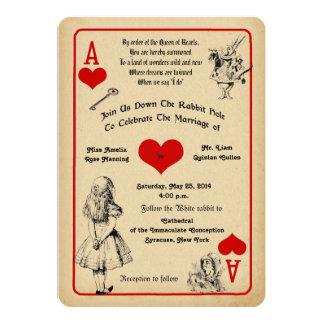 不思議の国の結婚式招待状のアリス 12.7 X 17.8 インビテーションカード