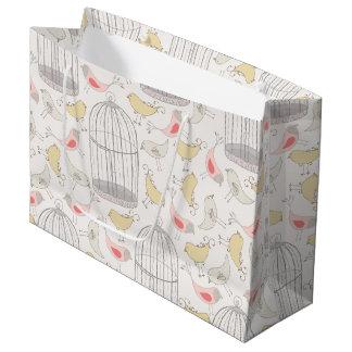 不思議の国の鳥及び鳥かごパターン ラージペーパーバッグ