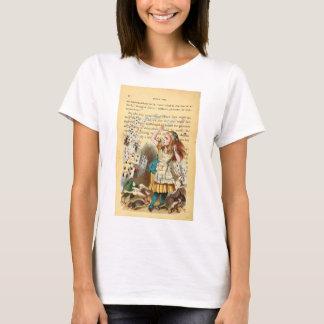 不思議の国飛んでいるなカード女性のティーのアリス Tシャツ