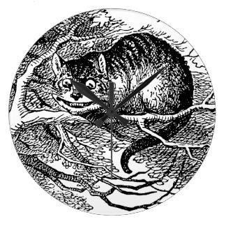 不思議の国、チェシャーのヴィンテージアリス猫 ラージ壁時計