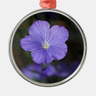 不断か青い亜麻の花 メタルオーナメント