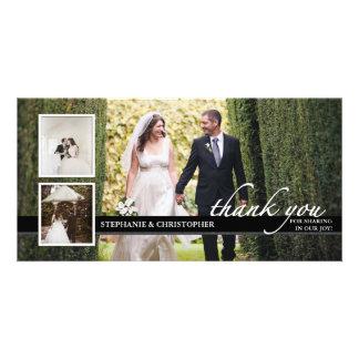 不朽のシックな結婚式は3つの写真カード感謝していしています 写真グリーティングカード